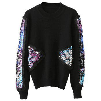 Pullover Sequined Spliced Fringed Sweater
