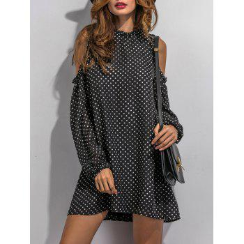Cold Shoulder Sleeve Polka Dot Dress