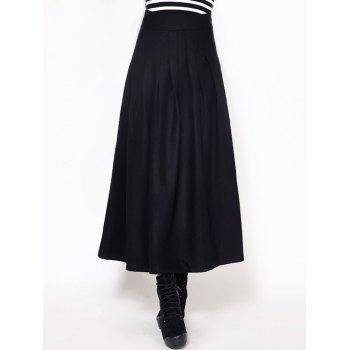 High Waisted Woolen Maxi Skirt