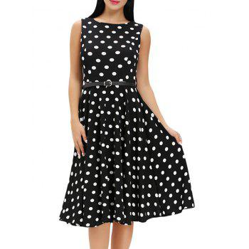 Vintage Sleeveless Midi Polka Dot Dress - BLACK BLACK