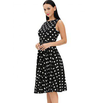 Vintage Sleeveless Midi Polka Dot Dress - M M