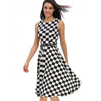 Retro High Waist Plaid Belted Dress - BLACK BLACK