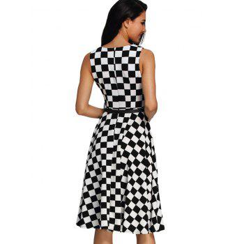 Retro High Waist Plaid Belted Dress - BLACK M