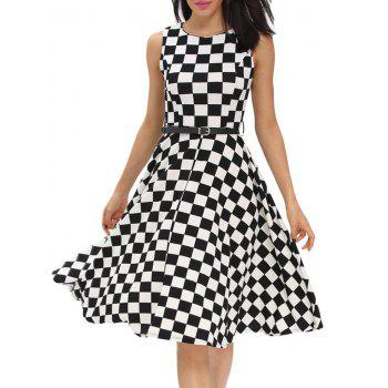 Retro High Waist Plaid Belted Dress