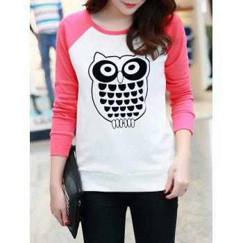 Raglan Sleeve Owl Print Fitting T-Shirt