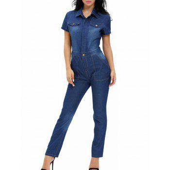 Buttoned Pocket Design Denim Jumpsuit