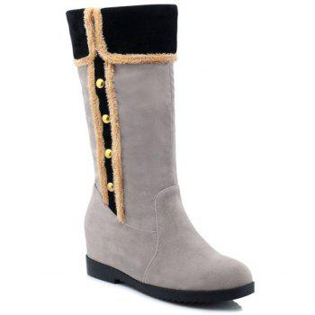 Colour Block Dome Stud Mid-Calf Boots