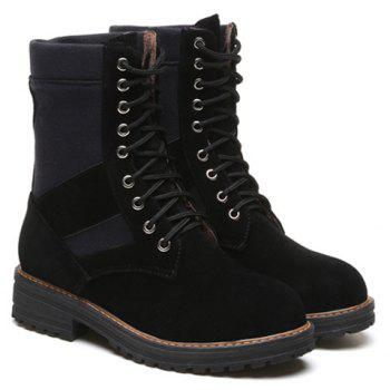 Tie Up Flat Heel Splicing Short Boots