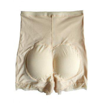 High Waist Boyshort Panties with Lace Trim - APRICOT XL