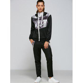 Casual Swan Mountain Digital Print Hoodie+Pants