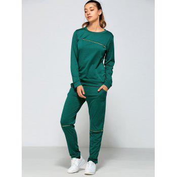 Zippered Sweatshirt and Pants with Pocket