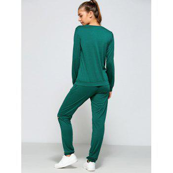 Zippered Sweatshirt and Pants with Pocket - GREEN L