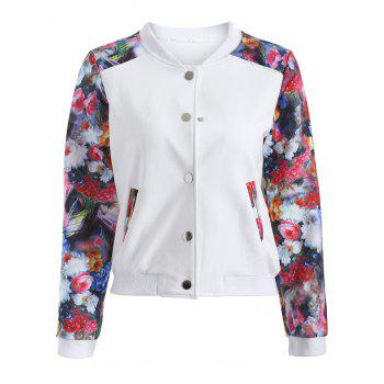 Casual Flowers Print Sleeve Short Baseball Jacket