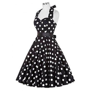 Retro Polka Dot Halter Swing Dress - BLACK M