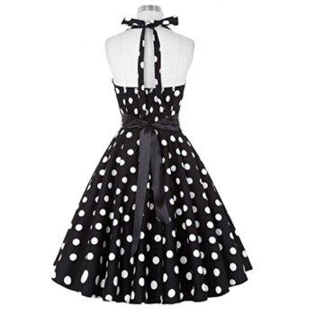 Retro Polka Dot Halter Swing Dress - BLACK S