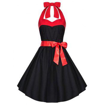 Retro Criss-Cross Halter A Line Dress