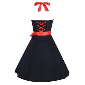 Retro Criss-Cross Halter Swing A Line Dress - BLACK BLACK