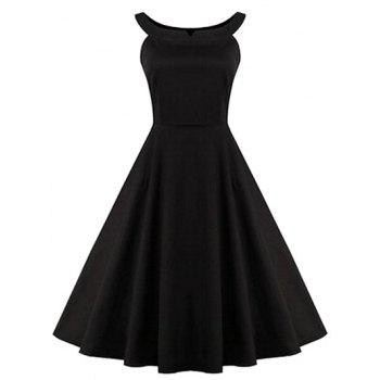 Retro Ruched Hem Backless Swing Dress - BLACK XL