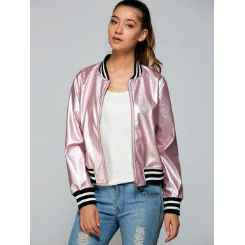 Zippered Striped Bomber Jacket
