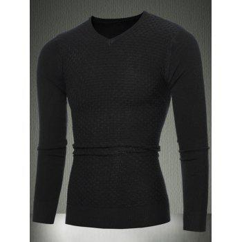 Slim Fit Textured Knitted V-Neck Sweater