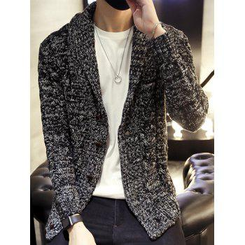 Botton Up Shawl Collar Cable Knitted Cardigan