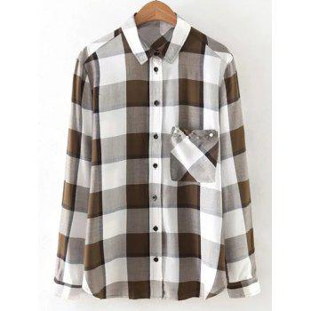 Button Up Pocket Loose Checked Shirt