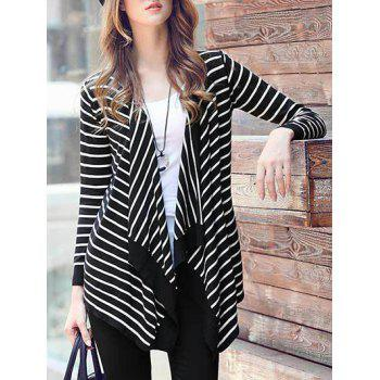 Open-Front Striped Asymmetrical Jacket