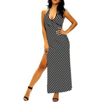 Halter High Slit Striped Dress