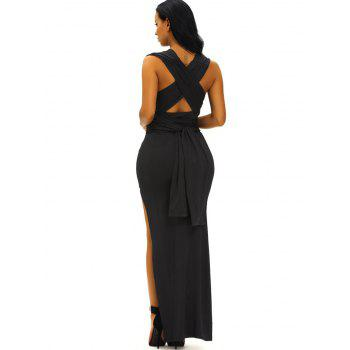 Criss Cross Plunge V Neck Maxi High Slit Prom Dress - BLACK M