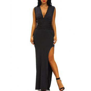 Plunge Fitted Slit Long Formal Dress
