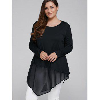 Buy Plus Size Chiffon Patchwork Asymmetrical Blouse BLACK