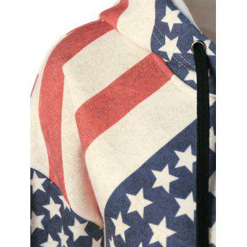 American Flag Distressed Drawstring Hoodie - RED/WHITE/BLUE M