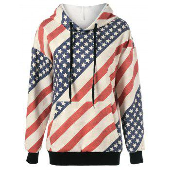 American Flag Distressed Drawstring Hoodie - RED AND WHITE AND BLUE RED/WHITE/BLUE