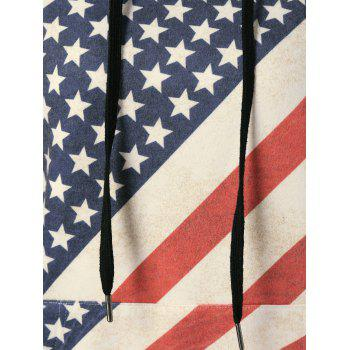 American Flag Distressed Drawstring Hoodie - RED/WHITE/BLUE L