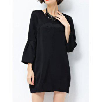 Flare Sleeves Pleated Shift Dress
