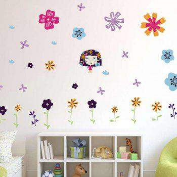 Colorful Floral Pattern Removable Kids Room Wall Stickers
