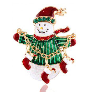 Snowman Star Christmas Shoes Rhinestone Brooch