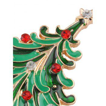 Rhinestone Christmas Tree Star Brooch - GOLDEN