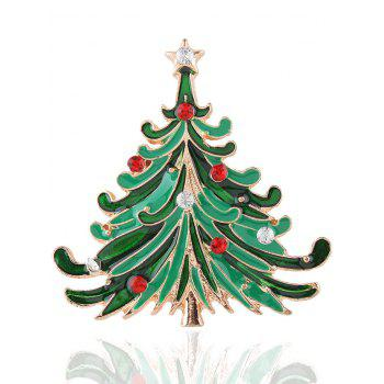 Rhinestone Christmas Tree Star Brooch