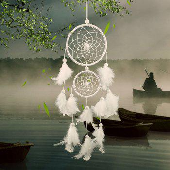 Chic Double Circular Net With Feathers Dreamcatcher Wall Hanging Decor