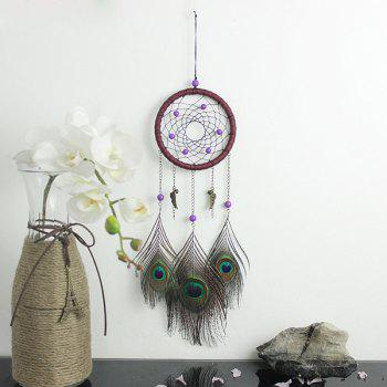 Chic Circular Net With Peacock Feathers Dreamcatcher Wall Hanging Decor