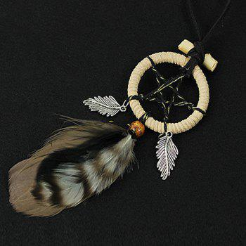 Chic Circular Net With Feathers Pentagram Mini Dreamcatcher Wall Hanging Decor - COLORMIX