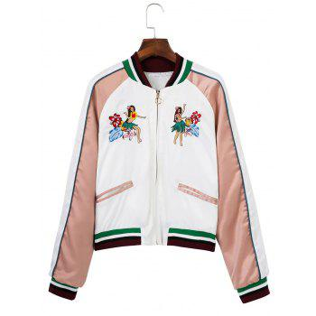 Raglan Sleeve Zipper Embroidered Souvenir Jacket