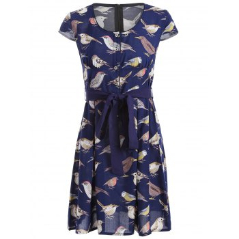 Bird Print Tie Waist A-Line Dress