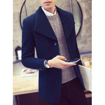 Turn-Down Collar Single-Breasted Woolen Coat