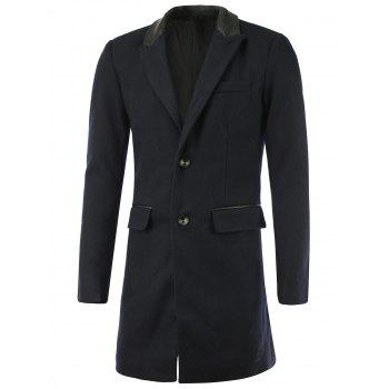 Single-Breasted Faux Leather Splicing Lapel Wool Coat