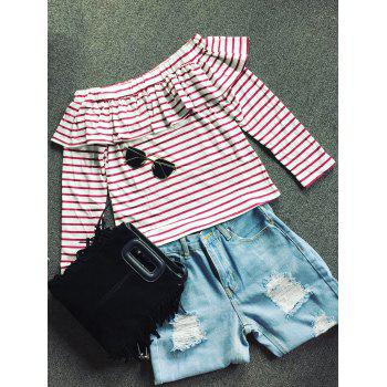 Off Shoulder Striped Long Sleeve Top