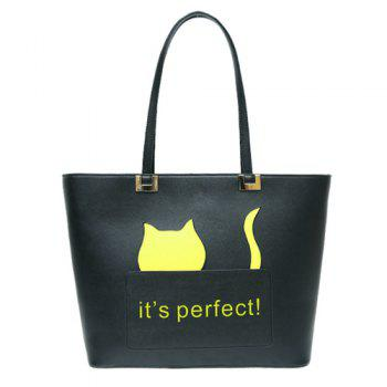 Cartoon Cat Letter Print Handbag
