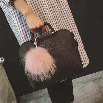 Pompon Letter PU Leather Tote