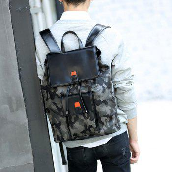 Camouflage Print PU Leather Backpack - BLACK